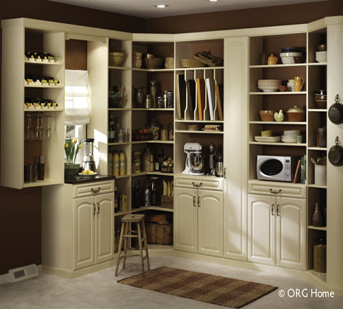 Custom storage organizing design solution manufactured using melamine, wood veneer, and solid hardwood materials.
