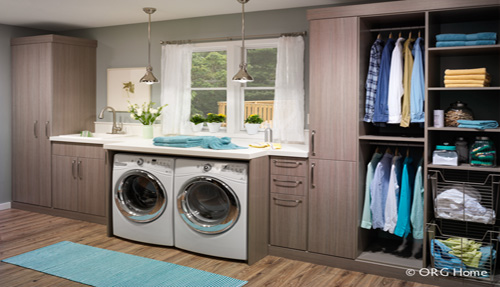 Laundry room cabinets and shelves organization system